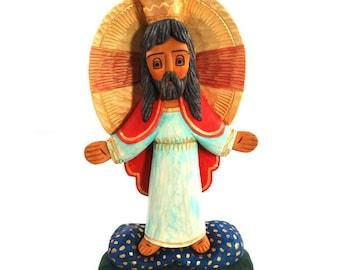 Christ the King / polish folk sculpture / folk art / Jesus / hand carved statue/ folk art from Poland