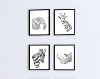 Safari Nursery Prints, Set of 4 Prints, Jungle Nursery Art, Safari Animal, African Animal Art, Animal Nursery Art, Safari Nursery Art
