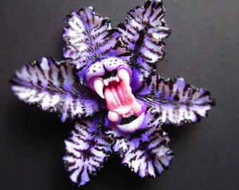 RESERVED FOR grievous_wolves Purple Tiger Carniflora brooch pendant polymer clay predator flower