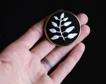 hand embroidered leaves pin • botanical brooch • plant embroidery lapel pin • hand lettered embroidery • black, white, and silver pin