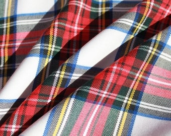 Red and White Tartan Fabric