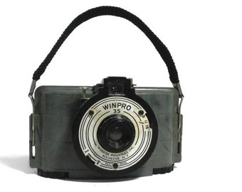 Vintage WINPRO 35 Camera by Webster Industries, Inc. Old 1940's Collectible Camera Unique Marbled Gray Plastic Retro Camera