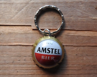 Amstel Dutch beer bottle cap key chain - Handmade by Charlie
