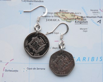 Jamaican 1 Dollar coin earrings - made of coins from Jamaica
