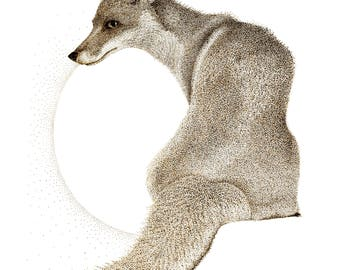 Fox wall art, limited edition fine art signed giclee print, A4 and A3 pointillism (dotwork) fox drawing, signed wildlife artist wall art