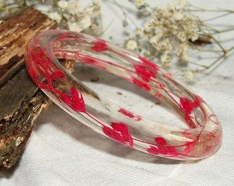 Resin Bangle Pressed Flower Gift, Bracelet Real Flower Resin Jewelry, Gift Bangle Real Plants Bracelet, Botanical Nature Jewelry Bangle Art