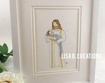 Savior painting, grief and loss, stillborn, born too soon, angelversary, rainbow baby, miscarriage, watercolor portrait, baby boy, baby girl