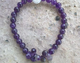 Amethyst Dew Dropplet stretch Bracelet