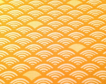 50x75 cm- Japanese fabric pattern Seigaiha  Waves yellow  100% cotton