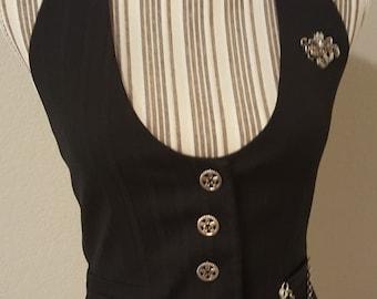 Vintage Black Steampunk Vest