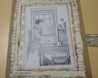 Vintage Handmade Housekeeping Themed Junk Journal, OOAK Diary, Junque Journal, Handmade Diary, Memory Book, Smash Book, Gluebook