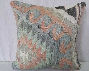 """Kilim Pillow, Cushion Cover, 1'3""""1'3"""" Feet 40cm ×40cm, Decorative Pillow, Kilim Cushion, Pillow Cover, Throw Pillow, Tribal Pillow, Turkish"""