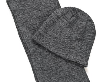 Hemp Dark Grey Scarf & Hat
