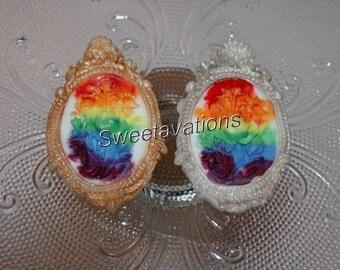 LGBT Wedding Fondant Rainbow Cameo Set (Qty. 12, 6 Each) - Lesbian Cake Decoration - Gay Wedding Cake Decoration - Gay Cupcake Topper
