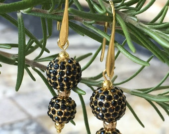 Double Jet Black Pave Crystal Dangle Earrings, Black Gold Drop Earrings, Black Pave Earrings, Gold CZ Pave Earrings, Gold and Black Earrings