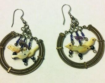 Sterling, Vintage Hoop Dangle Earrings with mother-of-pearl birds