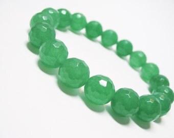 Green Aventurine Bracelet Faceted Aventurine Bracelet 12mm Aventurine Bracelet Gemstone Bracelet Unisex Bracelet Heart Chakra Bracelet