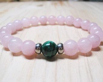 Natural Malachite Bracelet Rose Quartz Bracelet Gemstone Bracelet Heart Chakra Bracelet Calming Bracelet Healing Bracelet Love Bracelet