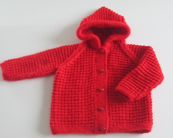 Handknitted Baby Jacket with Hood