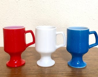 Vintage Milk Glass Footed Mugs / Set of 3 / Red White Blue
