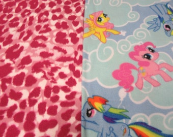 Fleece Tie Blanket-Little Ponies on Clouds and Pinks Print, small