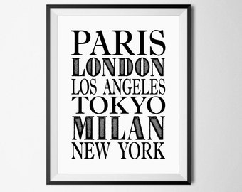 Fashion Cities Print, London, New York, Paris, Los Angeles, Fashion Art Prints, Fashion Printables, Large Fashion Prints, Travel Printable