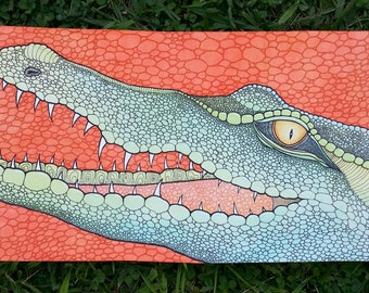 Crocodile original artwork watercolour gouache
