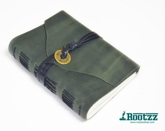 Green leather journal with a Chinese luck coin - traveler's notebook - journal -