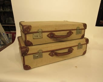 Canvas Suitcase Luggage Vintage