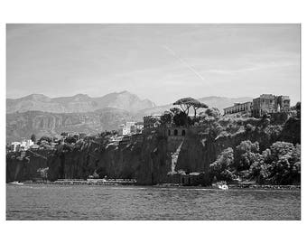 Italy, Black and White Photography, Print, Wall Art, Travel, Sorrento, Mediterranean, Art Deco, Retro, Noir