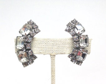 Vintage Estate Clear Rhinestone Silver Tone Clip On Earrings Christmas Present - Holiday Gift