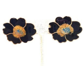 Darling Cloisonné Flower Gold Tone Vintage Estate Clip Earrings