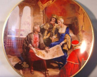 """Columbus Discovers America: 500th Anniversary """"The Queen's Approval"""" Collector's Plate - NIB"""