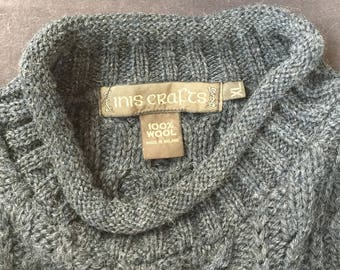Inis Crafts Charcoal 100% Wool Long Sleeve Sweater (XL) made in Ireland-NEW (JR)