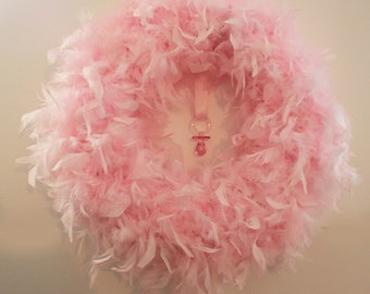 Baby Pink Feather Wreath