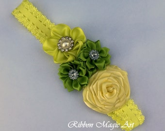 Elastic Baby Girl Headband, Yellow/ Green Flower Hair Bow For Babies and Toddlers, Flower Headband, Kanzashi style flower