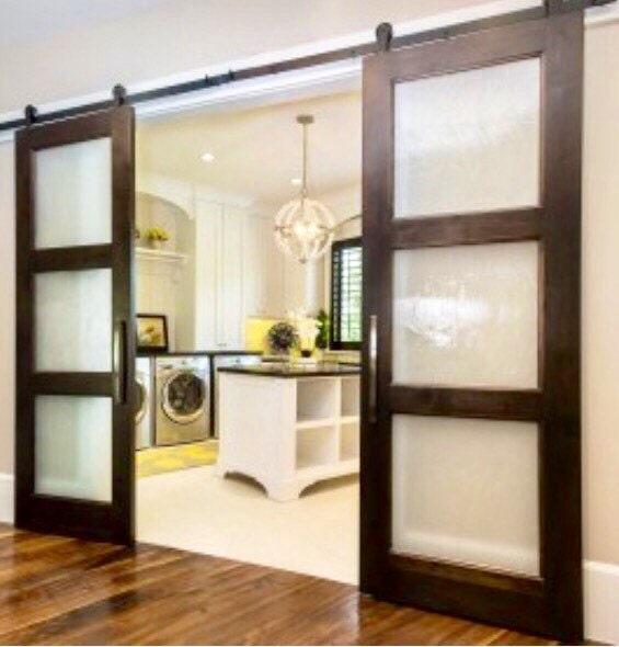 3 pane light glass sliding barn door for Three pane sliding glass door