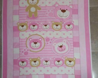 Pink Bear DIY quilt kit, Bear quilting kit, Sew your own quilt