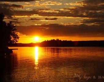 Bright sunset over a lake landscape nature fine art photography print, orange sunset, travel photography, romantic sunset, Canada, cottage