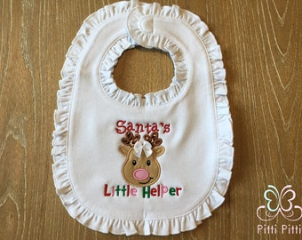 Santa's Little Helper -  Bodysuit, Shirt, Bib or Burp Cloth -   Baby Christmas Little Helper - Baby Reindeer