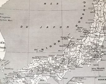 JAPAN.Ken,Fu and railways.Old map 1915's.-Old print.Black and white. 11,81 ins x 9,45 ins.Vintage Map.Vintage Print