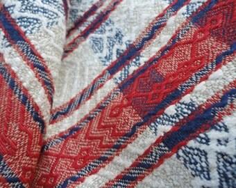 "Antique homespun linen coverlet Farmhouse decor Homestead fabric art Natural hemp bedcover Diagonal Chevron Lozenge twill Tablecloth 31*94"""