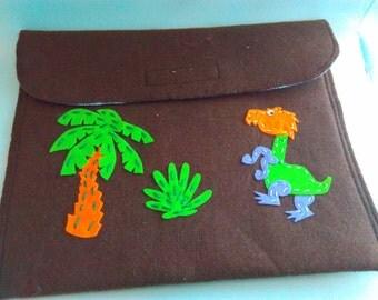 Upcycled, Handmade, Dinosaur ipad case, monster ipad case, felt ipad case, dinosaur, dinosaur gift, ipad case, monster, tablet storage, Dino