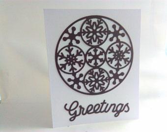 silhouette card, Handmade Christmas card, Christmas, blank Christmas card, snowflake, snowflake Christmas card, Christmas, Christmas card