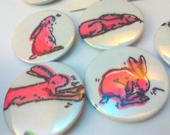 Pink rabbit badge, Easter Bunny, Easter Bunny badge, bunny badge, rabbit badge, Easter Bunny pin badge, bunny rabbit, bunny rabbit badge,