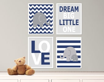 "Printable Elephant Nursery Art Print Set, Suits Baby Nursery, White & Navy Blue Nursery Decor, Set of 4 -8x10"" Digital Instant Download-S317"