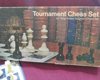Tournament Chess Set 3 1/8 in. King felted Staunton Chess Set, Lowe 1974, vintage, retro