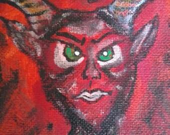 15cm canvas devil demon reaper horned Satan occult Beelzebub Hell daemon Lucifer