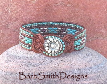Turquoise Silver Leather Bracelet-Beaded Wrap Bracelet-Knotted Cuff Bracelet-Celtic Knot-Custom Sizes-The Knotty One in Turquoise n' Coral