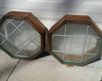 Vintage Octagon Wood Frame Windows
